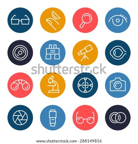 Optical icon set - stock vector