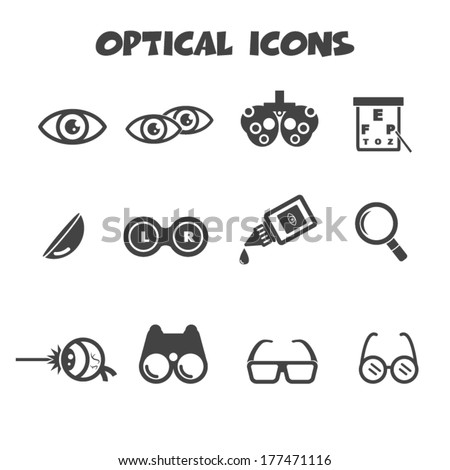 optical icons, vector symbols - stock vector