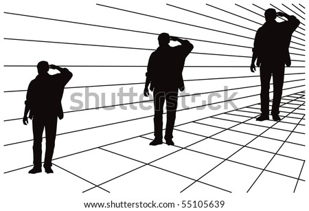 Optical illusion about different size in perspective. All three men silhouettes are same size. Mistake perception of human eye. Vector illustration. - stock vector