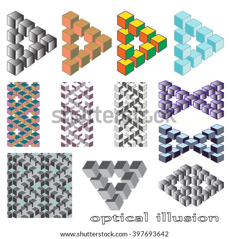 Optical illusion, abstract geometric design element. Printoptical illusion symbols, Impossible sign. A set of 12 vector design - stock vector