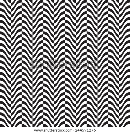 Optical illusion: abstract seamless pattern. Texture of wavy vertical stripes. Stylish background. - stock vector