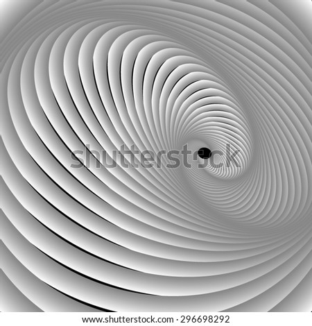 Optical illusion. Barred spiral of bright white swirling bundles. - stock vector