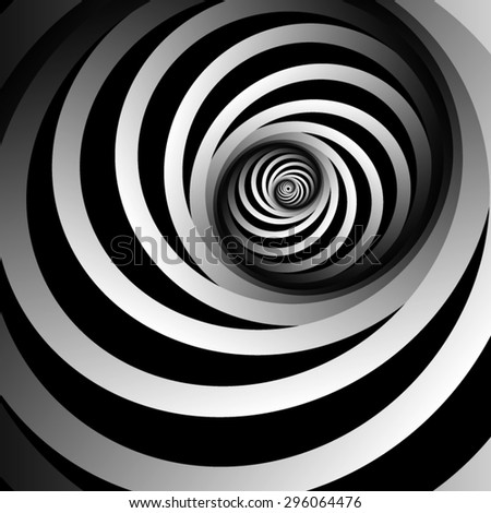 Optical illusion. Bright white volumetric spiral, spin in the middle of the white and black stripes. - stock vector