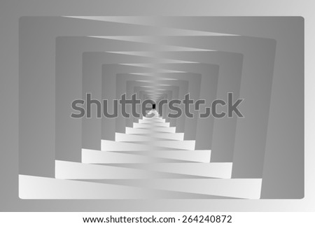 Optical illusion: grey curve of the corridor is a fractal, leading into the distance. - stock vector