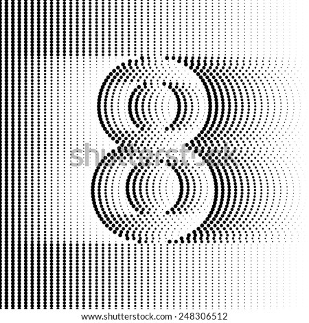 Optical Illusion number 8 - part of Dotted Optical iIllusion Alphabet  - stock vector
