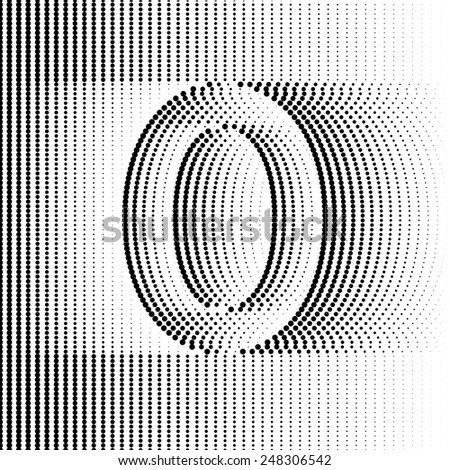 Optical Illusion number 0 - part of Dotted Optical iIllusion Alphabet  - stock vector