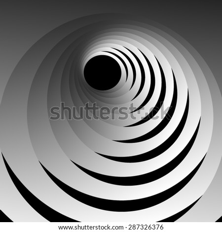 Optical illusion of the entrance to the hole through the swirling white stage, fractals on a black background. - stock vector