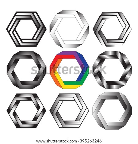 Optical illusion of the gradient vector, abstract geometric design element. Printoptical illusion symbols, Impossible sign. A set of 9 items - stock vector