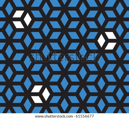 Optical illusion pattern (black one piece blue/white all separate) - stock vector