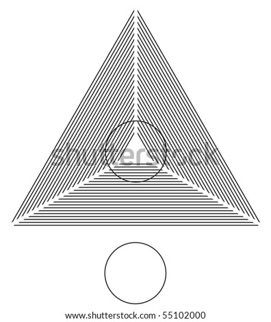 Optical illusion. Round circle on the lines triangle is identical as the one below. Vector illustration. - stock vector