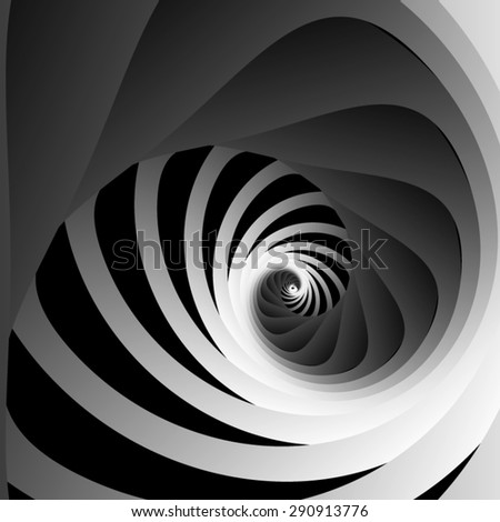 Optical illusion. Screw and receding into the distance of the triangular rounded spiral ribbons and black-and-white striped section. - stock vector