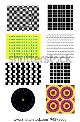 Optical Illusion set - stock vector