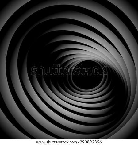 Optical illusion. Subtle striped monochrome screwed spiral, consisting of black and white ribbons. - stock vector