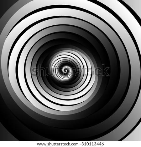 Optical illusion. Swirling monochrome spiral many metallic monochrome ribbon. - stock vector