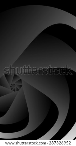 Optical illusion. The swirl of black and white blades small spiral. - stock vector