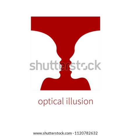 Optical Illusion Vase Two Profiles Negative Stock Vector 1120782632