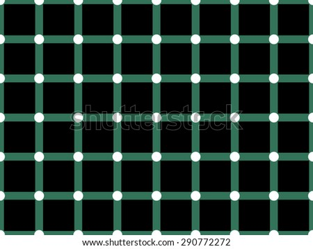 Optical illusion. When moving eyes over images black spots flashed  in white circles. Fun for inquisitive people. Deception attention. Vector illustration for websites with puzzles, interesting facts. - stock vector