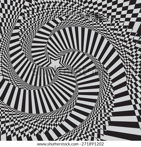 optical illusion zoom black and white background - stock vector