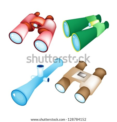 Optical instruments, Red, Green, Blue, and Brown Color of Binoculars Isolated on White Background - stock vector