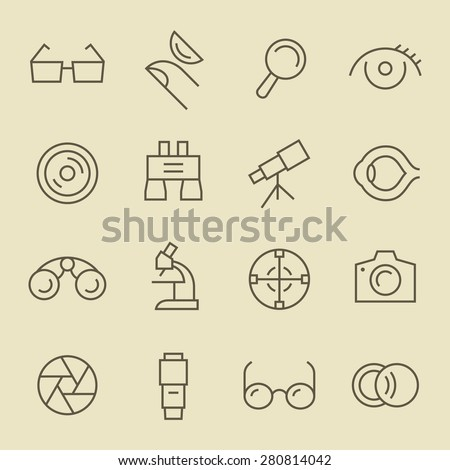 Optical line icon set - stock vector