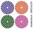 optical ornamental wheels - stock vector