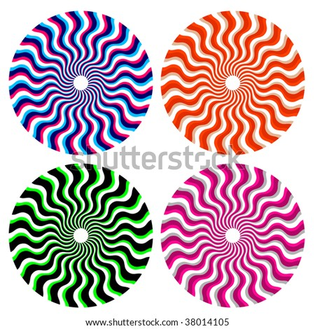 optical ornamental wheels - stock vector