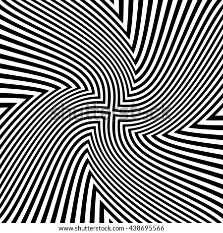 Optical striped illusion art square vector background