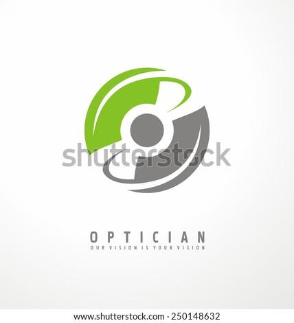 Optician creative symbol concept. Minimalistic logo design template for medical care. Eye icon. - stock vector