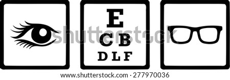 Optician Icons Eye - stock vector