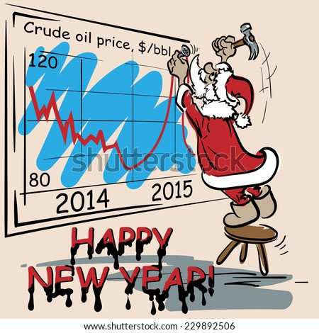 Optimistic Christmas greeting card for oil and gas industry workers. EPS8 vector illustration. - stock vector