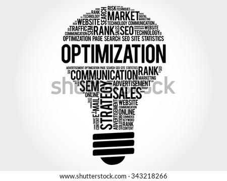 OPTIMIZATION bulb word cloud, business concept - stock vector
