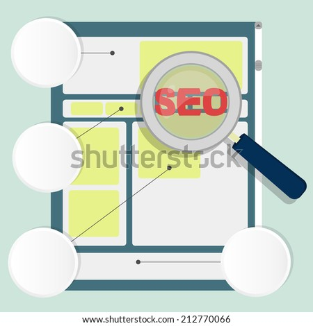 """Optimization of the structure of the website. Magnifying glass focusing on the word """"seo"""". Three circles with white copy space to insert text or images. Seo on page - stock vector"""