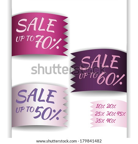 option ribbon with zigzag edge - purple tone, sale up to - stock vector