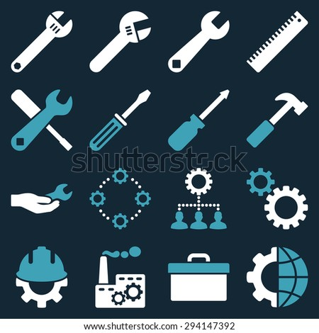 Options and service tools icon set. Vector style: flat bicolor symbols, blue and white colors, rounded angles, dark blue background. - stock vector