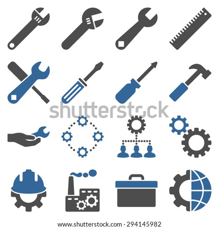 Options and service tools icon set. Vector style: flat bicolor symbols, cobalt and gray colors, rounded angles, white background. - stock vector