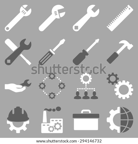 Options and service tools icon set. Vector style: flat bicolor symbols, dark gray and white colors, rounded angles, silver background. - stock vector