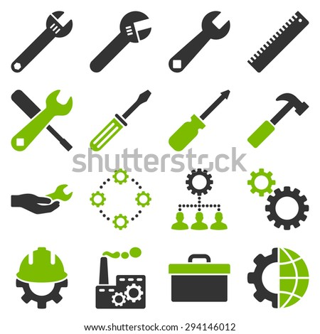 Options and service tools icon set. Vector style: flat bicolor symbols, eco green and gray colors, rounded angles, white background. - stock vector