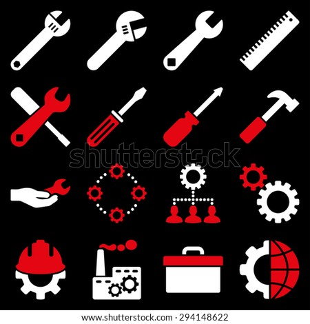 Options and service tools icon set. Vector style: flat bicolor symbols, red and white colors, rounded angles, black background. - stock vector