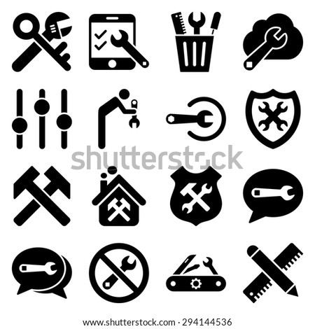Options and service tools icon set. Vector style: flat symbols, black color, rounded angles, white background. - stock vector