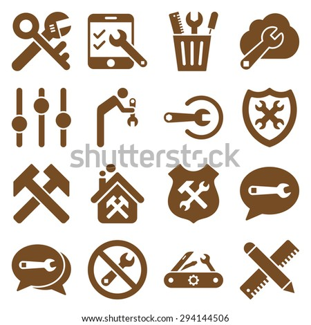 Options and service tools icon set. Vector style: flat symbols, brown color, rounded angles, white background. - stock vector