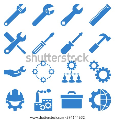 Options and service tools icon set. Vector style: flat symbols, cobalt color, rounded angles, white background. - stock vector