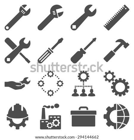 Options and service tools icon set. Vector style: flat symbols, gray color, rounded angles, white background. - stock vector
