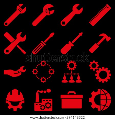 Options and service tools icon set. Vector style: flat symbols, red color, rounded angles, black background. - stock vector