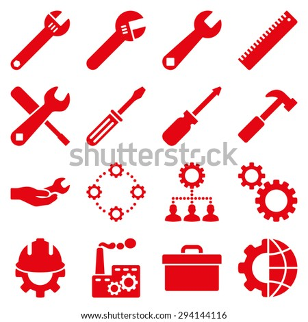 Options and service tools icon set. Vector style: flat symbols, red color, rounded angles, white background. - stock vector