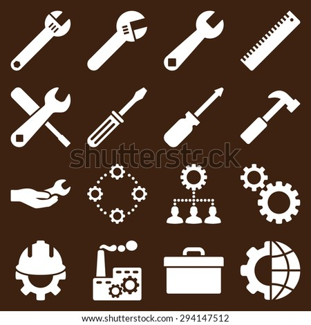 Options and service tools icon set. Vector style: flat symbols, white color, rounded angles, brown background. - stock vector