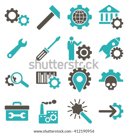 Options and service tools icon set. Vector style is flat bicolor symbols, grey and cyan colors, rounded angles, white background.