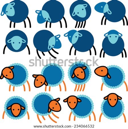 Options silhouette image of sheep - stock vector