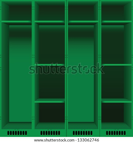 Options steel lockers for changing rooms in public places. Vector illustration. - stock vector