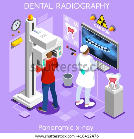 Oral health clinic dental panoramic teeth x ray radiography oral imaging dental center dentist and patient. Flat 3D isometric people dentistry clinic room oral visit vector illustration. - stock vector