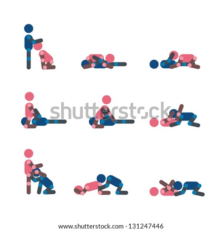 Oral sex positions or make love position shilouette vector - stock vector